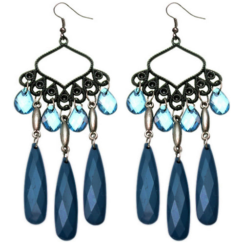 Blue Beaded Dangle Chandelier Earrings