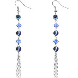 Blue Beaded Evil Eye Chain Earrings