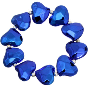 Blue Faceted Heart Stretch Bracelet