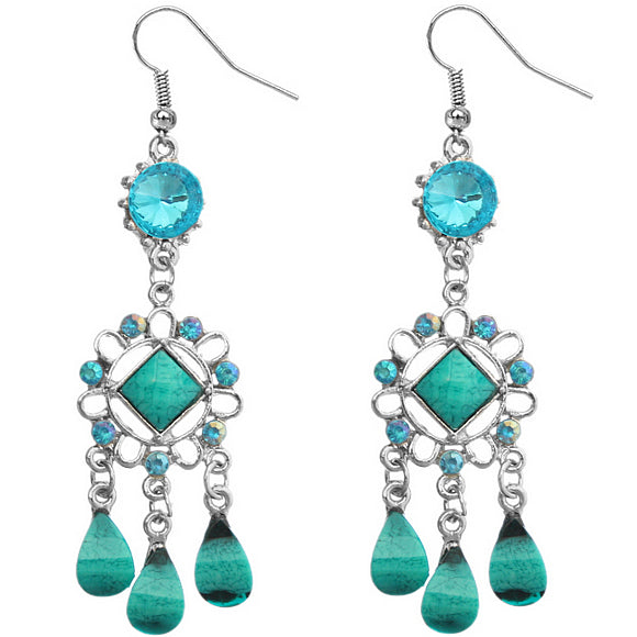 Blue Cluster Chandelier Earrings