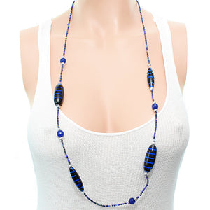 Blue Wooden Sequin Striped Necklace Set