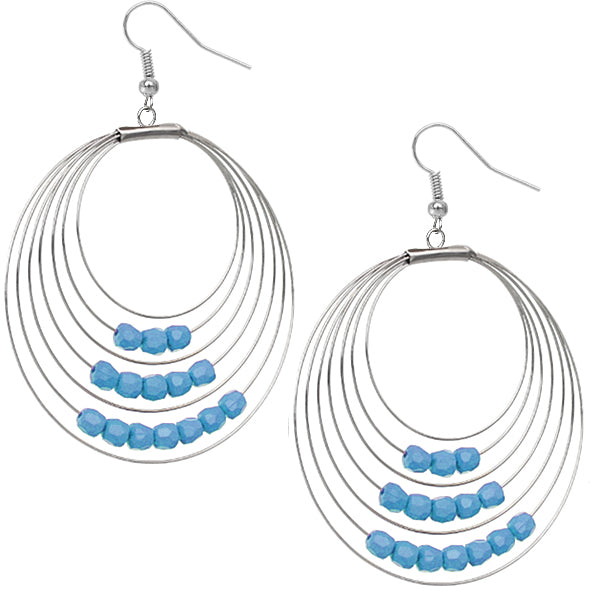 Blue Bead Hoops