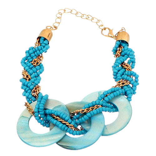Blue Beaded Circular Shell Chain Link Bracelet