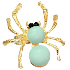 Mint Beaded Spider Adjustable Ring