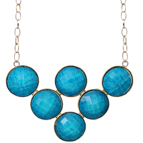 Blue Beaded Statement Chain Necklace