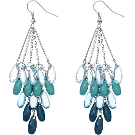 Blue Transparent Beaded Chandelier Earrings