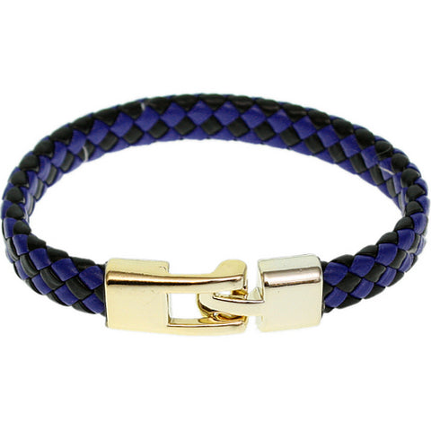 Blue Black Braided Woven Leather Latch Bracelet