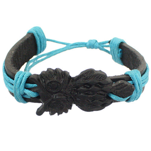 Blue Black Faux Leather Hoot Owl String Bracelet