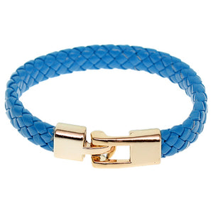 Blue Braided Woven Leather Latch Bracelet