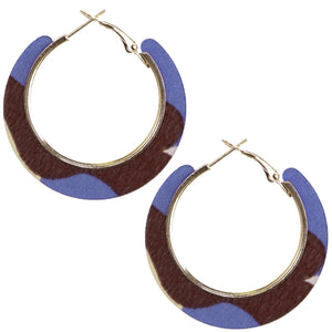 Blue Brown Acrylic Camo Mini Hoop Earrings