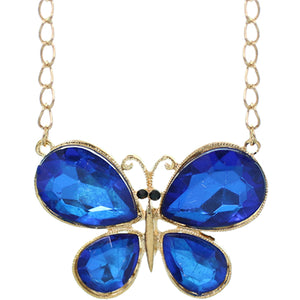 Blue Butterfly Gemstone Charm Chain Necklace