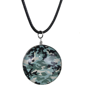 Blue Camo Murano Glass Cord Necklace