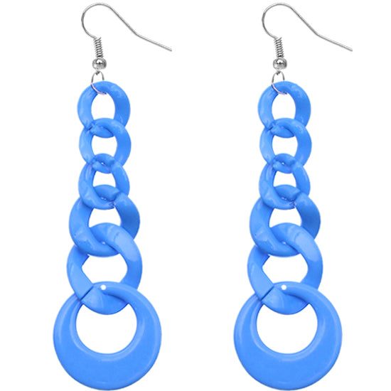 Blue Gradual Chain Link Earrings
