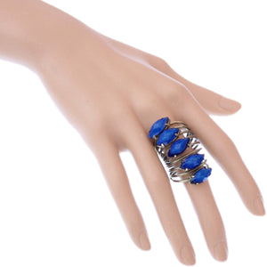 Blue Beaded Coil Wrap Ring