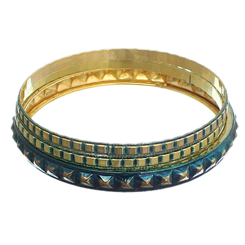 Blue Cone Pave Stacked Bracelet Set