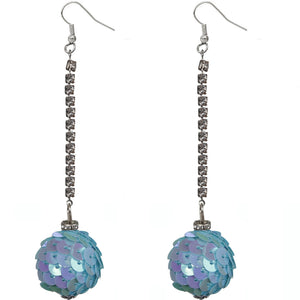 Blue Iridescent Confetti Ball Chain Earrings