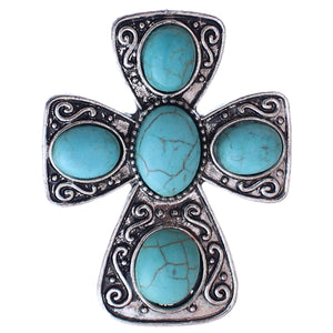 Blue Large Beaded Cross Adjustable Ring
