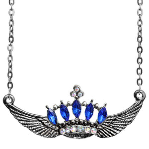 Blue Crown Double Wing Chain Necklace