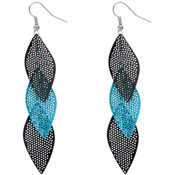 Blue Glitter Long Earrings
