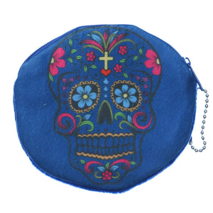 Blue Day of the Dead Skull Zipper Wallet