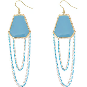 Blue Double Chain Geometric Dangle Earrings