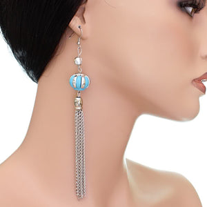 Blue Multi Chain Drop Earrings