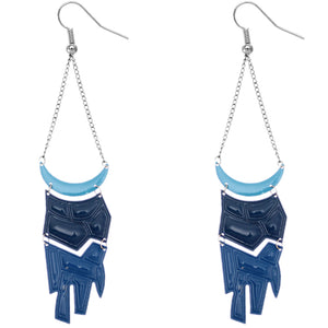 Blue Geometric Drop Chain Earrings