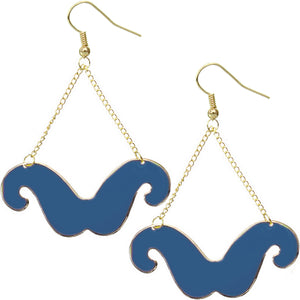 Blue Drop Chain Mustache Dangle Earrings