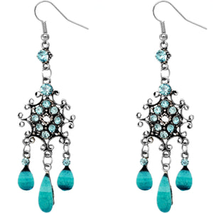 Blue Silver Chandelier Gemstone Earrings