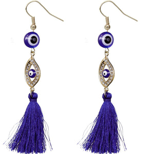 Blue Evil Eye Beaded Tassel Drop Earrings