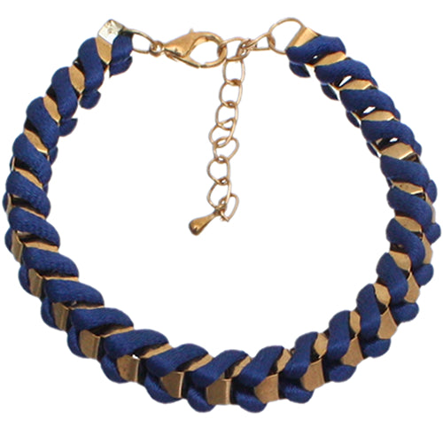 Blue Fabric Twisted Metal Clasp Bracelet