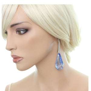 Blue Faceted Faux Crystal Drop Earrings