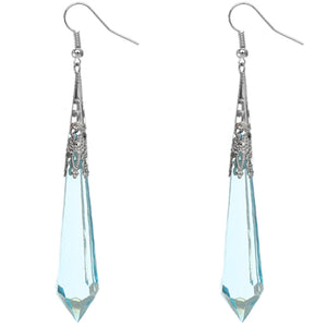 Blue Faux Crystal Pointy Earrings