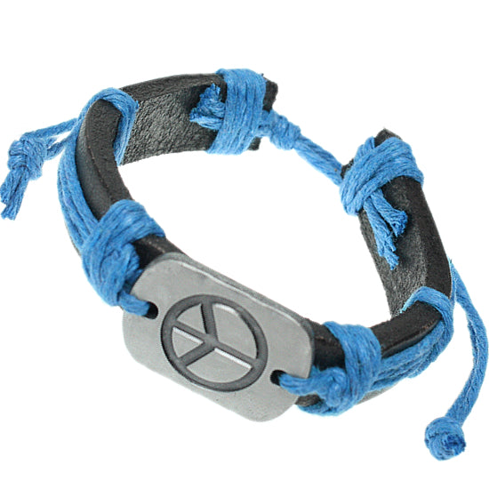 Blue Faux Leather Peace Adjustable Bracelet