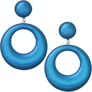 Blue Soft Open Hoop Post Earrings
