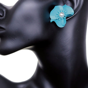 Blue Faux Pearl Flower Earrings
