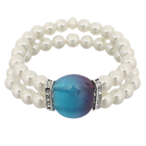 Blue Gemstone Faux Pearl Stretch Bracelet