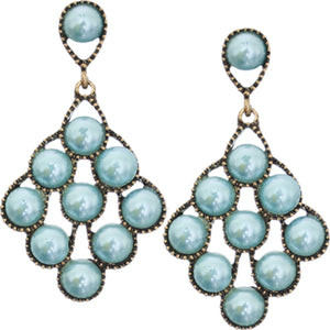 Blue Faux Pearl Open Beaded Post Earrings