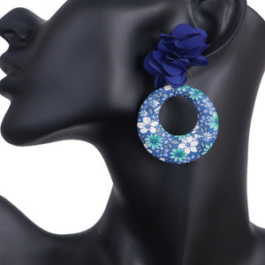 Blue Floral Fabric Drop Hoop Earrings