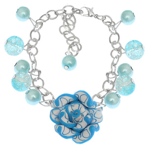 Blue Glass Ball Flower Charm Chain Bracelet