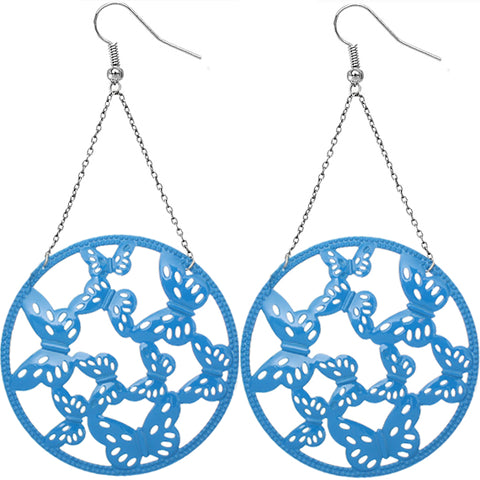 Blue Gigantic Butterfly Chain Earrings