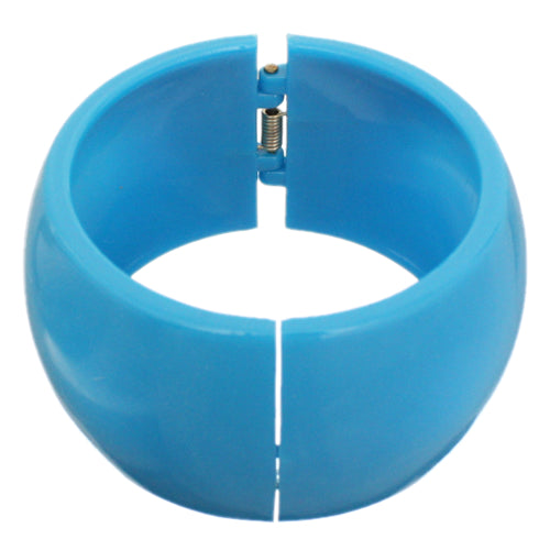 Blue Glossy Hinged Bangle Bracelet