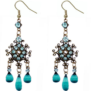 Blue Elegant Chandelier Gemstone Earrings