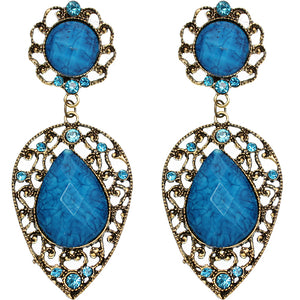 Blue Gold Teardrop Gemstone Link Post Earrings