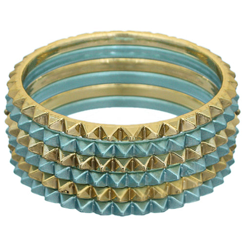 Blue Two-Tone Spike Stacked Bracelet