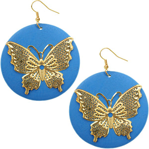 Blue Gold Wooden Butterfly Dangle Earrings