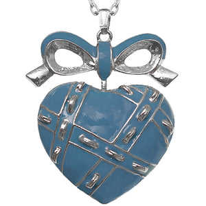 Blue Heart Bow Charm Necklace