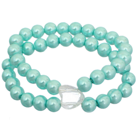 Blue Heart Beaded Stretch Bracelet