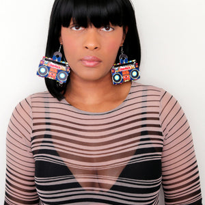 Blue Orange Hiphop Radio Boombox Earrings