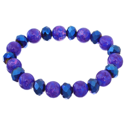 Blue Iridescent Beaded Stretch Bracelet Earrings Set